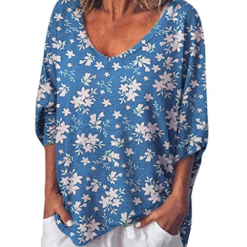 DQANIU- Damen Bluse, Bekleidung Schuhe & Accessoires - Bluse Damen Plus Size Casual Kurzarm Peach Heart Kragen Fledermaus Ärmel Pint Tops Bluse, S-XXXXXL