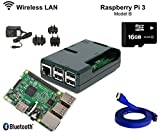 Raspberry Pi 3 1GB RAM 1.2GHz 64-bit quad-core 16GB CLASS 10 Kodi OpenELEC Media Center Kit Dernières (Bleu) (Black)