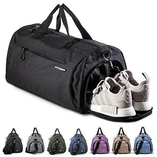 Fitgriff® Sporttasche Reisetasche mit Schuhfach & Nassfach - Männer & Frauen Fitnesstasche - Tasche für Sport, Fitness, Gym - Travel Bag & Duffel Bag 58cm x 31cm x 31cm [55 Liter] (Black, Medium)