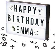 Boîte cinématique lumineuse format A4 avec 100 lettres, émoticônes, smileys et symboles - personnalisez votre message - Piles et alimentation USB