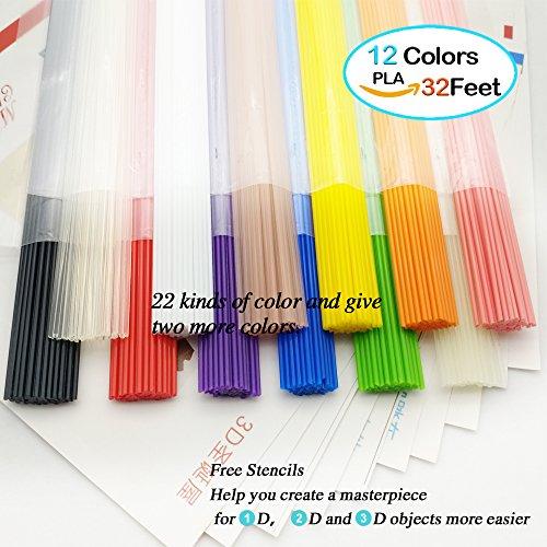 Preisvergleich Produktbild NanHong roll outThe New 3D Pen Filament Refills in a straight up stick form 12 Piece Bone pocket Kit 1 Glow in the Dark Colors 1.75mm pla.12 Colors/32 Feet Each Colors Kit. (12)