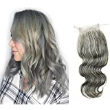 14inch , 4x4closure-body Wave : Ms Fenda Hair 100% Raw Virgin Malaysian Human Hair Body Wave Style Grey Color...