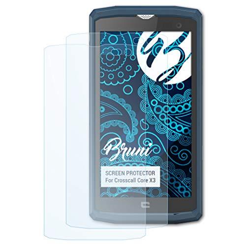 Bruni Schutzfolie für Crosscall Core X3 Folie, glasklare Bildschirmschutzfolie (2X)