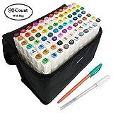 AMAZLA 80 Farbige Graffiti Stift Fettige Mark Farben Marker Set,Twin Tip Textmarker Graffiti Pens für Sketch Marker Stifte Set Mit (Weiß)