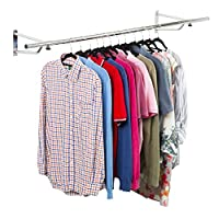 Direct Online Houseware Chrome Plated Wall Mounted Garment Clothes Rail Hanging Shop Display Tubing Rack