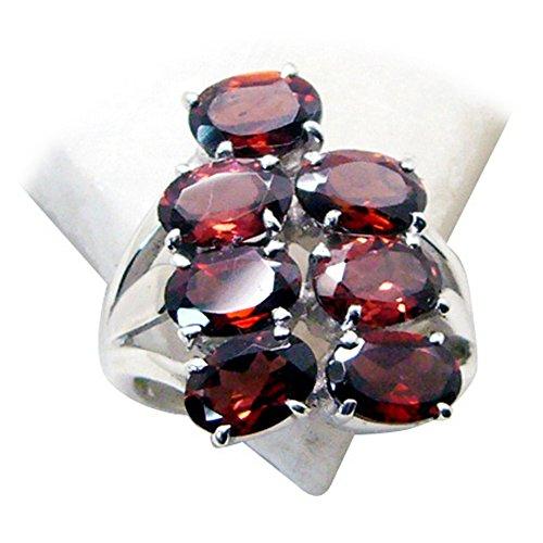 Gemsonclick Echte Granat Ring Für Jahrestag Geschenk Silber Oval Stein Cluster Stil Handgemachte Größe P