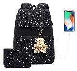 AM SeaBlue Mädchen Schule Rucksack Leinwand Rucksäcke Daypack Studenten Schule Bookbag Taschen für Teenager Mädchen Frauen (01-Schwarz)