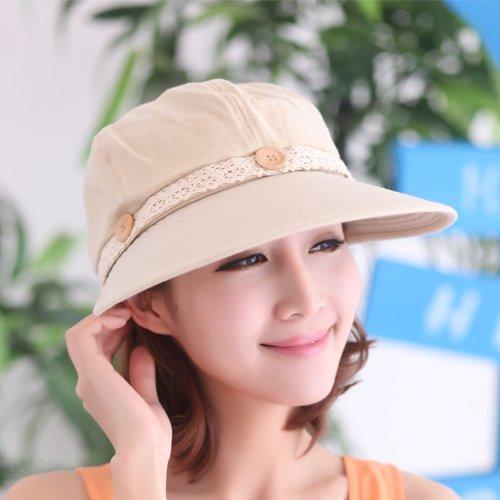 gmnscyq Hüte Cap Sommer Sonnenhut Sonnenhut Leer Top UV Sonnenhut Spitze Zusammenklappbar Sonnen Cooler Hut Weiblich, Größe (Lace Button), Beige