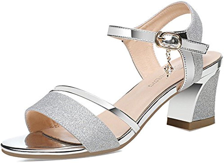 RUGAI-UE Femmes Chaussures pour Femmes RUGAI-UE avec des Chaussures à Fond épais d'été, Sandales, Talons d'or et de Grandes Sandales. 6b2d8e
