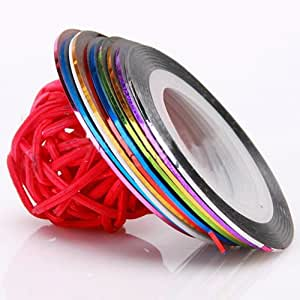 10 Couleurs Striping Tape Filament Deco Ongle Gel Autocollant Nail Art sticker