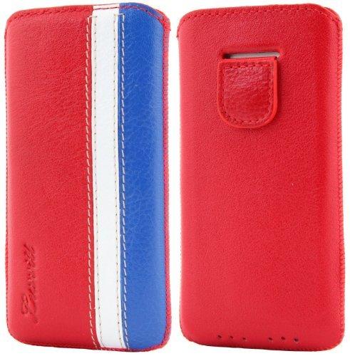 luvvitt Sapin Étui en cuir véritable pour iPhone 5/5S/5C/5 Rouge/blanc/bleu