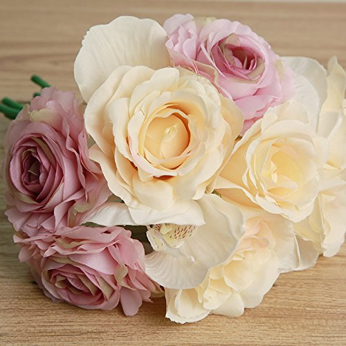 BALLERINA'S Rose Artificial Flower Bouquet (Height 27cm; Biege, Light Pink and White)