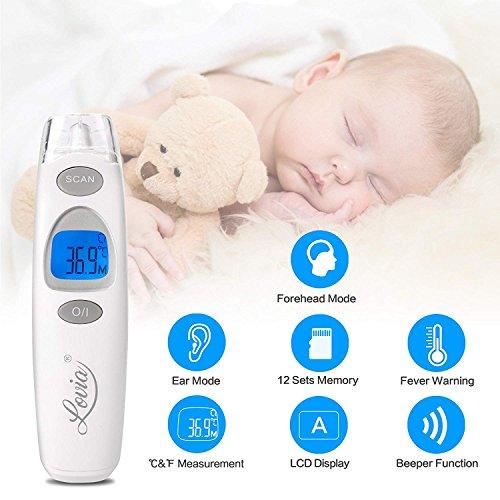 Termometro Bambini, Digitale Infrarossi Fronte Orecchio Termometro per Neonato e Adulti con Schermo a LCD, Lettura Istantanea,Allarme Febbre, Approved CE/FDA - 2