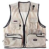 Yiqi Jagd- und Anglerweste mit Vielen Praktischen Taschen, Superleicht Beige 2XL