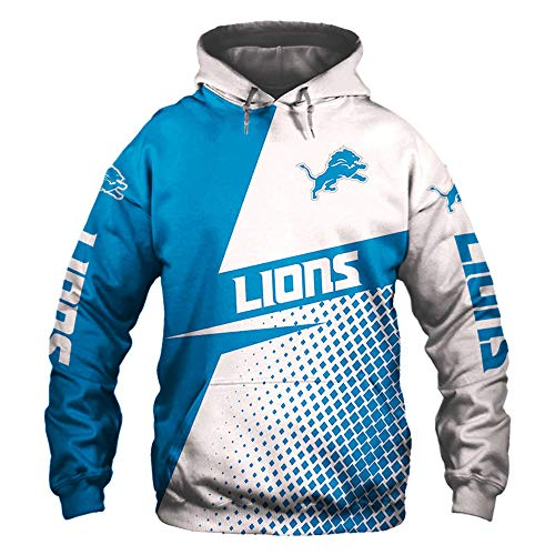 XHDH NFL Rugby Hoodies Detroit Lions, American Football Hoodie Für Männer Casual Sports Schulter Hülse Pullover (S-5XL),3XL -