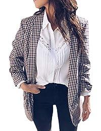d8d0189adf44 Jacke Damen Vintage Fashion Klassisch Kariert Mantel Revers Elegante Loose  Langarm Schöne Lässige Bequem Coat Outerwear