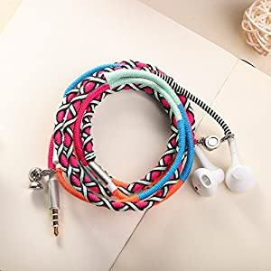 URIZONS Earphones,Headphones with Microphone and Remote, In-Ear Sports Headset for iPhone iPad iPod Mac Laptop Tablets Android Smartphones Handmade Fabric Braided Tribe Thread Wrapped Bracelet Style