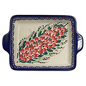 Traditional Polish Pottery, Lasagna Rectangular Casserole Baking Dish with Handles 22cm, Boleslawiec Style Pattern, O.401.Cranberry