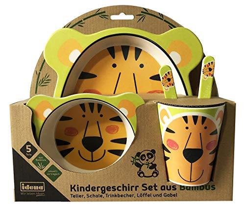 Idena 40120 - Kindergeschirr Set aus Bambus, mit niedlichem Tiger Motiv, 5 teilig bestehend aus Teller, Schale, Trinkbecher, Löffel und Gabel
