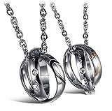 URBANSTYLES - Edelstahl Schmuck Partner-Kette für Verliebte - Paar Halskette mit Doppelt Ring Anhänger und Gravur für Sie und Ihn - Real Love
