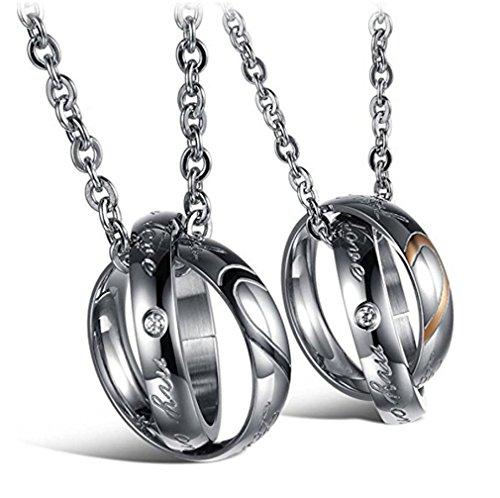 URBANSTYLES - Edelstahl Schmuck Partner-Kette für Verliebte - Paar Halskette mit Doppelt Ring Anhänger und Gravur für Sie und Ihn -