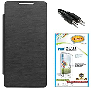 Tidel Premium Durable Flip Cover Case for Micromax CANVAS Nitro A311 A310 ( Black ) With Tidel 2.5D Curved Tempered Glass & Aux Cable