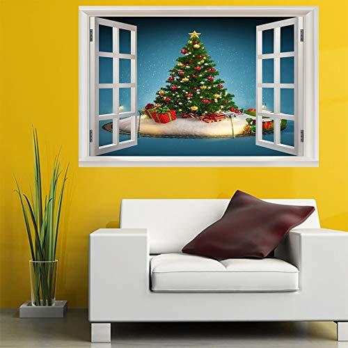 Leoljc Weihnachtsbaum 3D Gefälschte Fenster Schlafzimmer Kinderzimmer Büro Hintergrund Dekoration Umweltfreundlich Abnehmbare (50X70 Cm)
