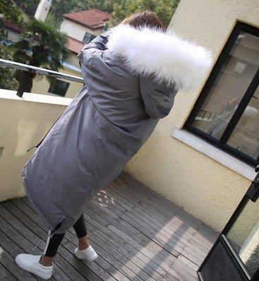 Xuanku Winter Übergroße Haar Kragen Mit Kapuze Federn Down'S Jacke Frauen Dicke Warm Long Super-Jacke Baumwolle Jacke Jacke, L, Hellgrau, Weißes Haar
