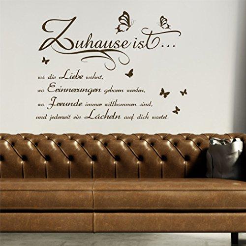 greenluup wandtattoo zuhause ist wo die liebe wohnt braun. Black Bedroom Furniture Sets. Home Design Ideas