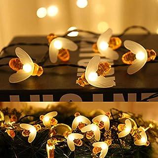 ATR Solar Biene Lichterkette 5m 20 LED, Rasenlicht wasserdicht dekorative Lichterkette eingebaut 8 Blitzmodi, geeignet für Weihnachten, Outdoor, Garten, Zaun, Hof, Hof (2 Packungen)