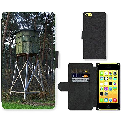Just Mobile pour Hot Style Téléphone portable étui portefeuille en cuir PU avec fente pour carte//m00138590Hunter A Été Forêt Hunter HUNTS//Apple iPhone 5C
