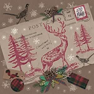 Ti-Flair Pack of 20 Napkins / Serviettes - Vintage Postcard With Stag - 33cm x 33cm - 3ply