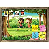 ArtzFolio Kids Playing At The Woods Printed Bulletin Board Notice Pin Board cum Antique Golden Framed Painting 17 x 12inch