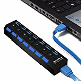 ONCHOICE USB 3.0 7 Port HUB Super Speed con Cavo Integrato 100 cm Ideale Compatibile con Windows XP/Vista / 7/8, Mac OS, Linux, ECC. (Nero) Black