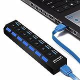 ONCHOICE Hub 7 Puertos USB 3.0 Data Hub de Alta Velocidad con 7 Interruptores de Alimentación, Cable USB de 100 CM para Ordenador/Portátil/PC/Windows MAC (Adaptador de EUR No Incluido) Negro