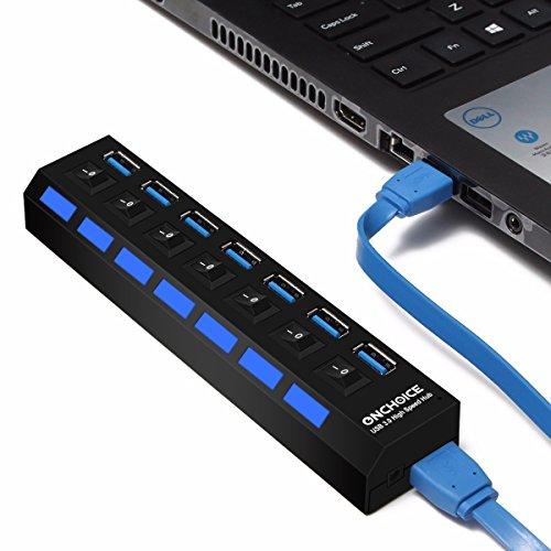 ONCHOICE USB 3.0 7 Port HUB Super Speed con Cavo Integrato 100 cm Ideale Compatibile con Windows XP/Vista / 7/8, Mac OS, Linux, ECC. (Nero) Black