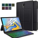 ELTD Tastatur Hülle für Samsung Galaxy Tab A 10.5 (Deutsches QWERTZ-Layout), Hülle mit 7 Farben LED-Hintergrundbeleuchtung Kabellose Tastatur für Samsung Galaxy Tab A SM-T595/T590 10.5 Zoll (Schwarz)