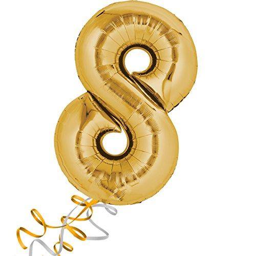 Preisvergleich Produktbild Folienballon - Zahl 8 GOLD - XXL 86cm, mit Helium gefüllter Zahlen Luftballon + PORTOFREI + Geschenkkarten Set. High Quality Premium Ballons vom Luftballonprofi & deutschen Heliumballon Experten. Luftballondeko zum Geburtstag oder Jubiläum. Lustiger Geburtstagsgeschenk Ballon