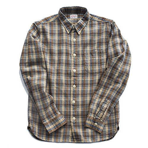 bii-free-mens-long-sleeve-retro-light-tan-plaid-slim-fit-shirt-100-cotton