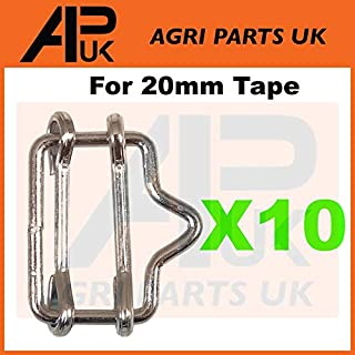 APUK 10 x Electric fence fencing 20mm Poly tape connector Joiners Metal connection