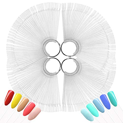 4 SET 200 PCS Transparent Nail Art Tips Stick Display Nagel Präsentation Nagelkunst Fächer Nagellack Praxis Farbpalette Nagelrad Nagelspitzen Farbfelder Karte