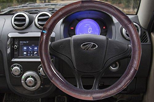 NIKAVI Microfiber Leather Auto Car Steering Wheel Cover Universal 15 inch (BROWN)