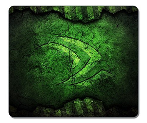 Mouse pads,(Black)10 X 12 X 0.12in,[Natural rubber,Precision Fabric]Personality Desings Gaming Mouse Pad,surface of the polyester¡ê?prevent deformation-Nvidia Green Logo