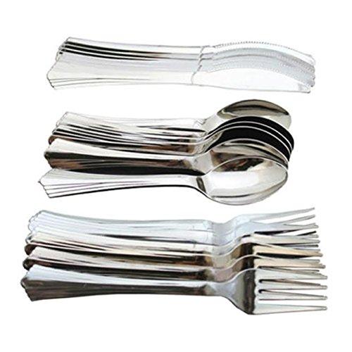 18pc Argenté métallique Ensemble de couverts - Vaisselle de fête fourchettes, cuillères et couteaux
