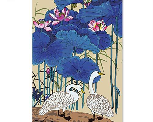 WAZHCY Digital Frühling Chinesische Handgemachte Antike Lotus Dekorative Malerei Reiher Färbung Hintergrund Wandmalereien 40X50 cm,Mit Holzrahmen,E - Antike Wandmalereien