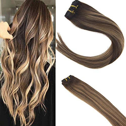 Sunny 120g/set 7pcs Vollkopf Clip in Haarverlangerung Remy Extensions Echthaar 20 Zoll 50 cm Dunkelbraun #4 mit Caramel #27 Galtt Haare