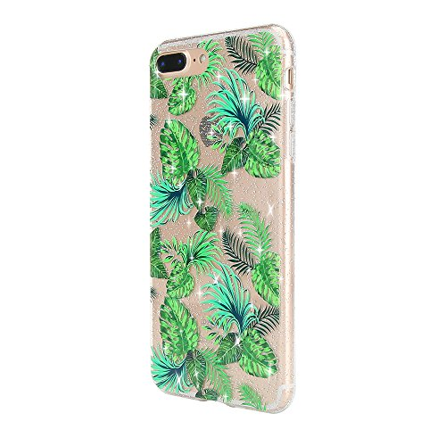 Sycode Custodia per iPhone 8 Plus 5.5,Cover per iPhone 7 Plus 5.5,Silicone Trasparente Case per iPhone 8 Plus/7 Plus 5.5,Liquido Cristallo Chiaro Carina Divertente Motivo Cartone Elefante Delfino i Verde Le Foglie