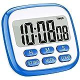 HABOR Küchentimer Digital magnetisch Kitchen Timer großem LCD Bildschirm mit Lauter Alarm 24H Countdown Timer Retractable Stand Magnetic Backing...