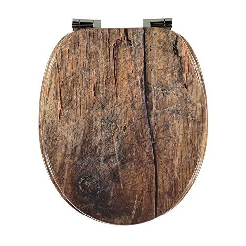 Toilettendeckel Design MDF-Holz WC-Sitz mit Absenkautomatik und verzinkten Scharnieren - Klodeckel WC-Brille Klobrille (Holz)