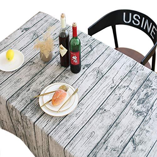 Nappe vintage Toechmo, Nappe de pique-nique rectangulaire en lin lavable, différentes tailles, Coton, bois, 55 X 79 Inch (140*200CM)